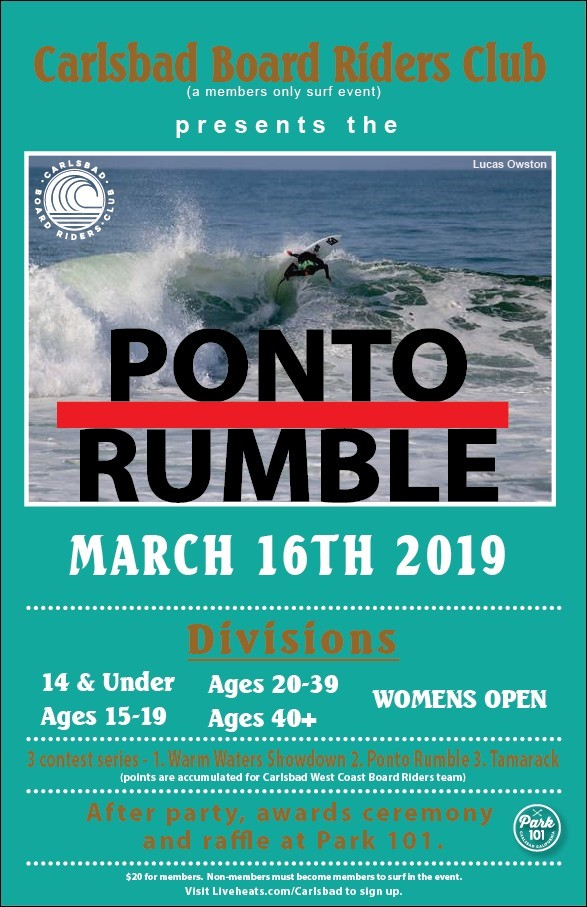 Ponto Rumble Surf Contest - Carlsbad Boardriders Club
